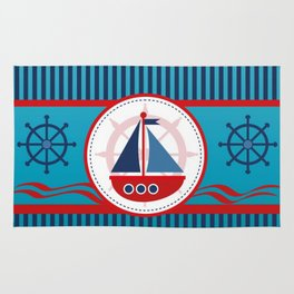 Cool Blue Sailboat Background Rug