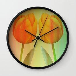 Head-to-Head, mixed media art with elegant Tulips Wall Clock