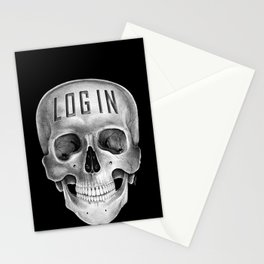 Skull Log in B&W Stationery Cards