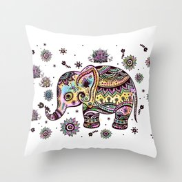 Cute Colorful Elephant Illustration Throw Pillow