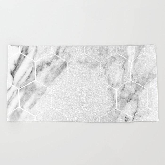 White marble hexagonal beehive Beach Towel