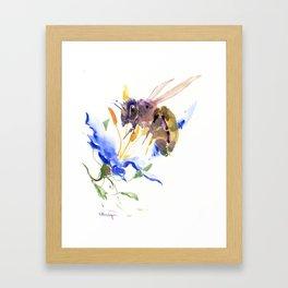 Honey Bee and Blue Flower Framed Art Print