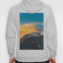 Last light on mountains before sunset Hoody