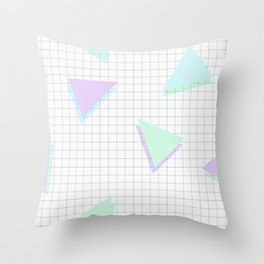 Cool-Color Pastel Triangles on Grid Throw Pillow