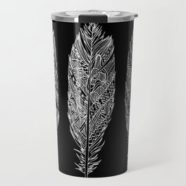 Patterned Plumes - White Travel Mug