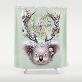 KOALA BEAR HORNS UP Shower Curtain