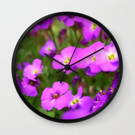 Pink Purple Impatiens Flowers Wall Clock