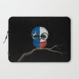 Baby Owl with Glasses and Texas Flag Laptop Sleeve
