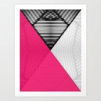 Black White and Bright Pink Art Print
