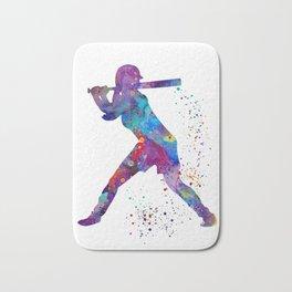 Girl Baseball Softball Batter Watercolour Sports Art Colorful Baseball Print Bath Mat