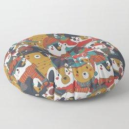Funky Retro Christmas Animals Floor Pillow