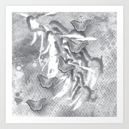 Butterflies in a gray abstract landscape Art Print