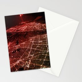 Night Flight out of Los Angeles Red Stationery Cards