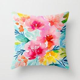 Neon Floral Throw Pillow