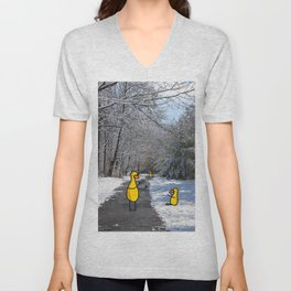 Snowy Duck Moment | Veronica Nagorny  Unisex V-Neck