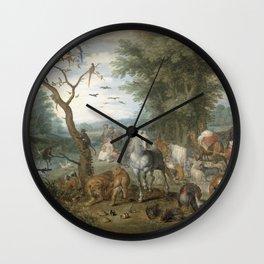 Jan Brueghel - Paradise Landscape With The Animals Entering Noahs Ark Wall Clock