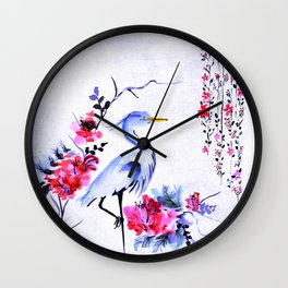 japanese style watercolour crane bird Wall Clock