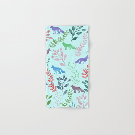 Watercolor Floral & Fox Hand & Bath Towel