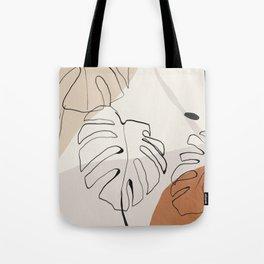 Minimal Abstract Art- Monstera Tote Bag