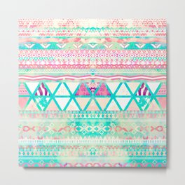 Pink Teal Aztec Pattern Triangles Girly Watercolor Metal Print