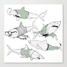 Business Casual Sharks Canvas Print