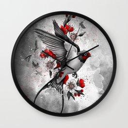 swallows and sakuras Wall Clock