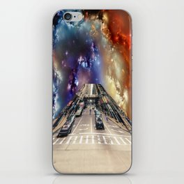 City coming out of a nebula iPhone Skin
