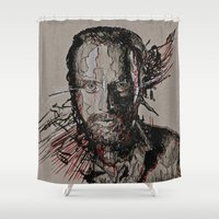 grimes Shower Curtains featuring Rick Grimes The Walking Dead by Teva Mana