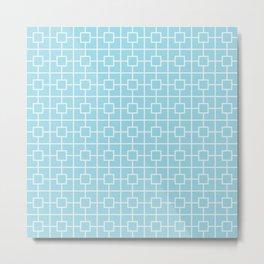 Electric Blue Square Chain Pattern Metal Print