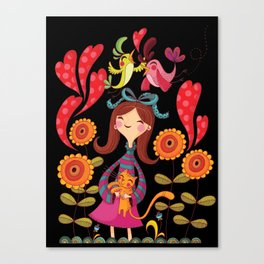 Girl with sunflowers_black Canvas Print