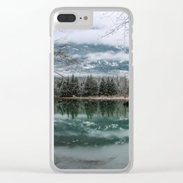 snowy reflection Clear iPhone Case