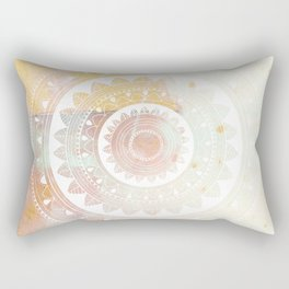 Ukatasana white mandala on pink Rectangular Pillow