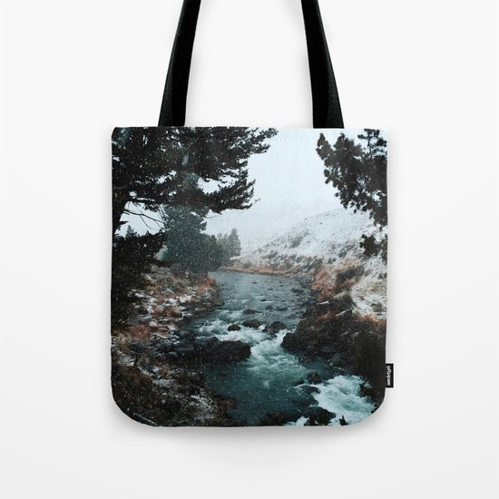 Rustic Creek in snow Tote Bag
