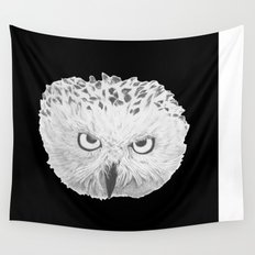 Snowy Owl Black Wall Tapestry