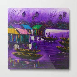 African Fishermen on a Tropical Windy Night Out On The Sea of an African Village Metal Print