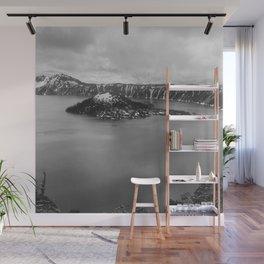 Mountain Lake View B&W Wall Mural