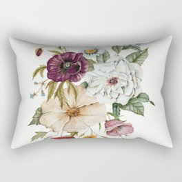 Colorful Wildflower Bouquet on White Rectangular Pillow