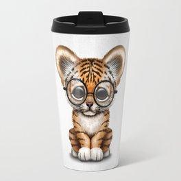 Cute Baby Tiger Cub Wearing Eye Glasses on White Travel Mug