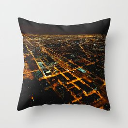 Miles and Miles of Lights (Chicago Architecture Collection) Throw Pillow