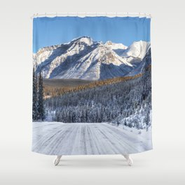 Winter Wonderland - Road in the Canadian Rockies Shower Curtain