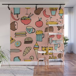 Food Frenzy pink Wall Mural