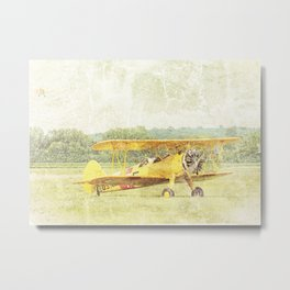 Take Off Antique Biplane Metal Print