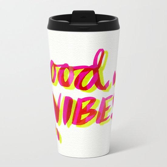 Good Vibes – Pink & Yellow Metal Travel Mug