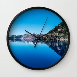 Blue Lake Sky // Rocky Evergreen Mountain and Snowcap Sierra Range Reflection Wall Clock