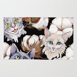 Cotton Flower & Cat Pattern on Black 01 Rug