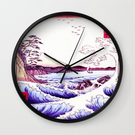 The GREAT Wave : Violet Purple Wall Clock