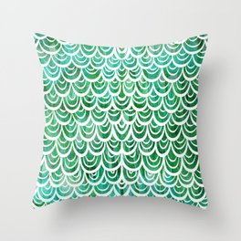 Watercolor Mermaid Emerald Throw Pillow