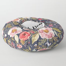 Pretty Floral Pattern with Lovely Day Typography Floor Pillow