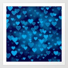 Blue Hearts Bokeh Art Print