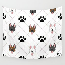 3 German Shepherd Colors Paw Print Pattern Wall Tapestry